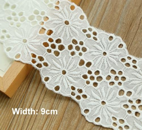 1yrd/lot Largura 9 cm Fantasia projeto bordado lace trims cor Marfim rendas de algodão para o vestuário acessórios Scrapbooking (ss-4917)