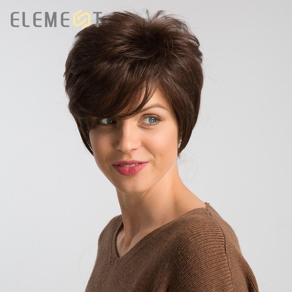عنصر 6 بوصة قصيرة براون شعر مستعار اصطناعي مزيج 50% شعر الإنسان الجانب الأيسر فراق قطع عابث تأثيري حزب العمل الباروكات للنساء