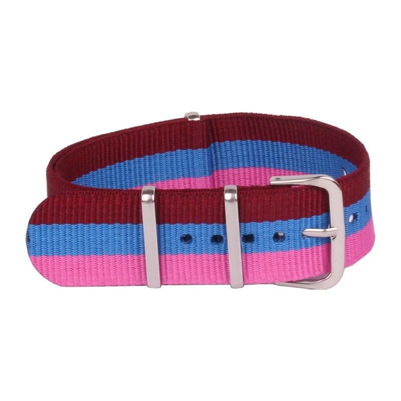 Fashion 20 mm Watchband Men Women Sport Rose Purple Nato Fiber Woven Nylon Watch Strap Wristwatch Bands Buckle 20mm watches belt