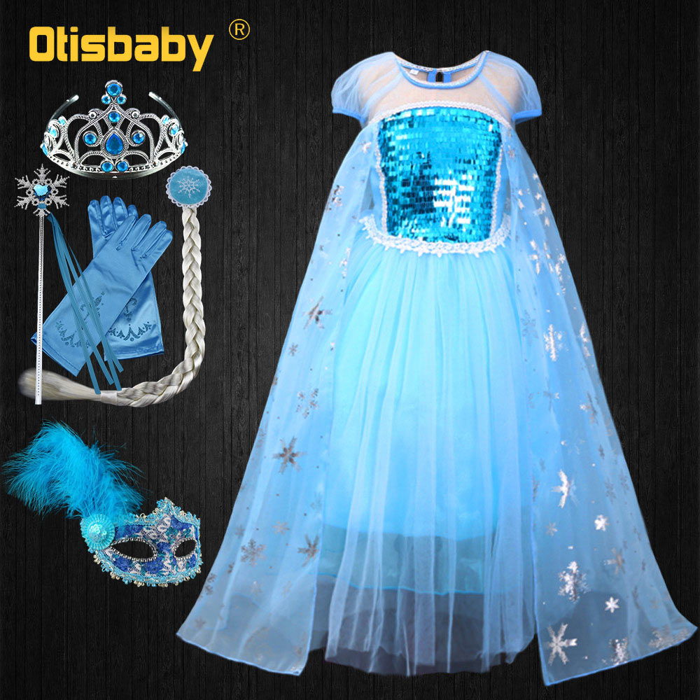 Vestido de princesa elsa para meninas natal neve rainha traje crianças elsa fantasiar-se festa de aniversário luz azul lantejoulas vestidos