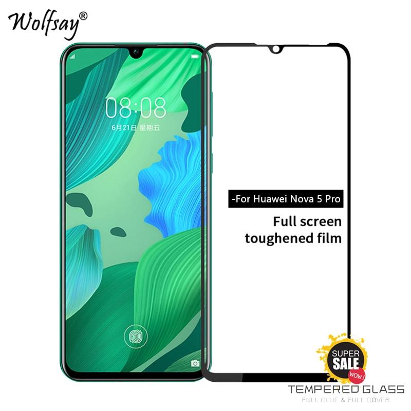 2PCS Full Glue Cover Glass Huawei Nova 5 Pro Screen Protector Tempered Glass Huawei Nova 5 Pro Phone