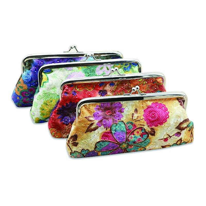BDTHOOO monedero Mini carteras con cierre tela bordada tejido de lona monedero bolsos de embrague