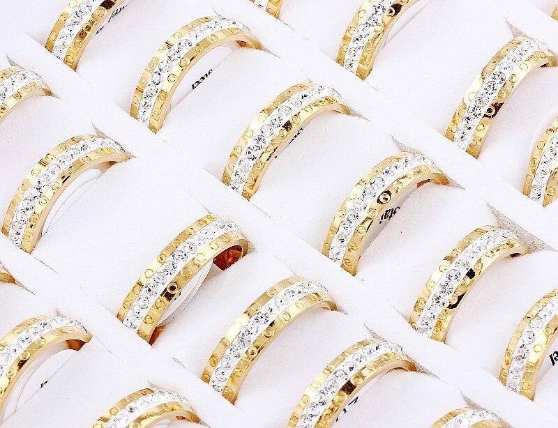 Hurtownie luzem wiele 5 sztuk męska Gothic złoty pierścień ze stali nierdzewnej olej biały spadek kryształowy inkrustacja ślub Xams prezent uwalnia statek