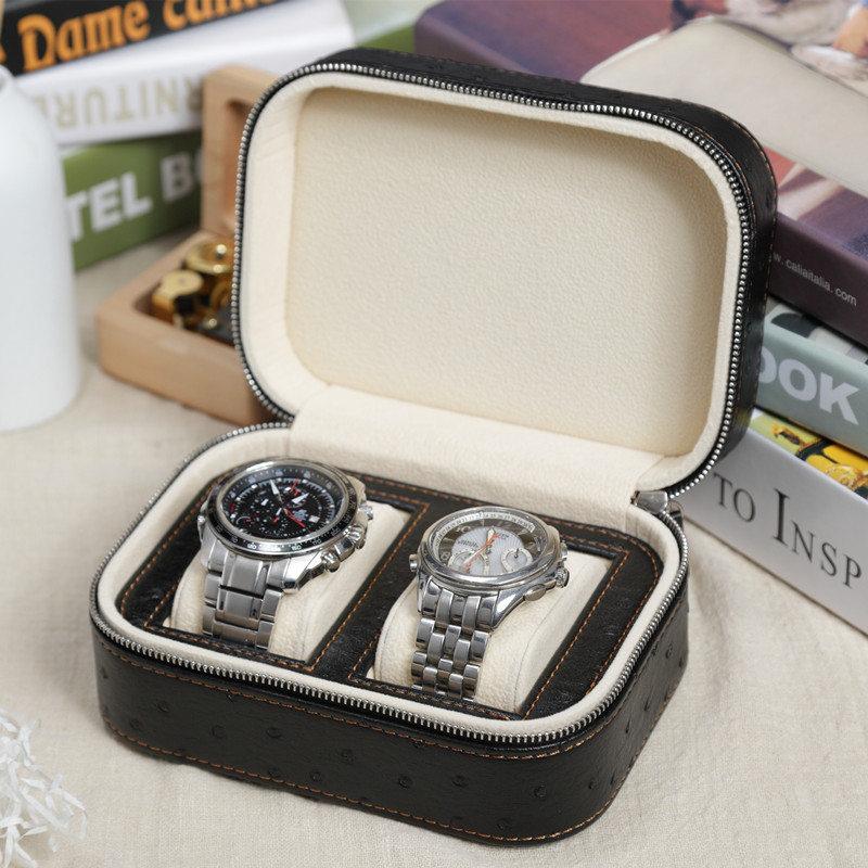Nuevo reloj de cuero de PU Cajas de almacenamiento relojes de marca de viaje negros para hombre Caja expositor de relojes con cremallera
