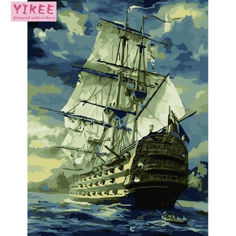 Pintura al óleo por números, barco caribeño, imágenes por números, barcos, kits de pintura por números