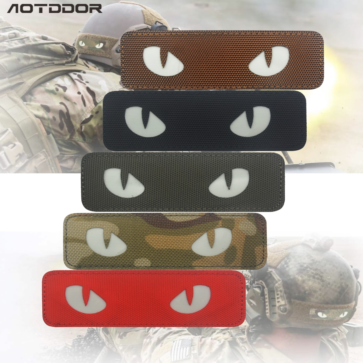 Parche de ojo de gato de PVC en 3D, parches reflectantes EMT IR, parche moral táctico militar, cierre de goma para motorista, insignias que brillan en la oscuridad