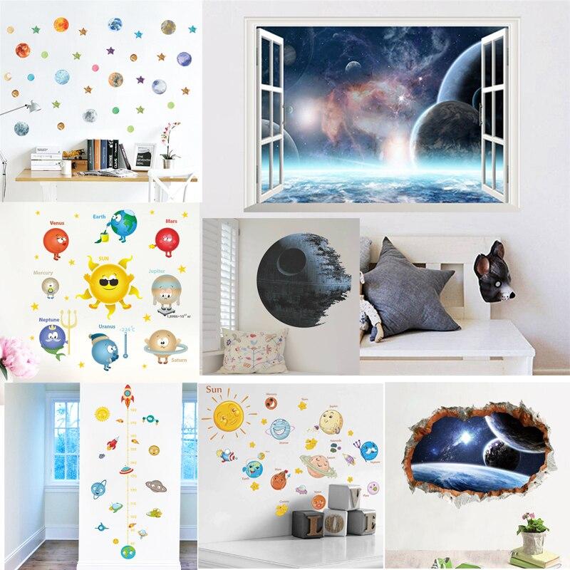 Pegatinas de pared de sistema solar espacio exterior, decoración del hogar, planetas, tierra, sol, Saturno, mars, muro estelar, adhesivos para sala de estar, dormitorio