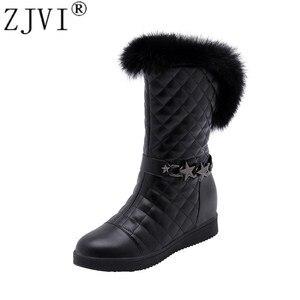 ZJVI Women Mid Calf Snow Boots Womens Fashion Winter Warm Plush Boots 2021 Sexy Metal Round Toe Flats Woman Flat Ladies Shoes