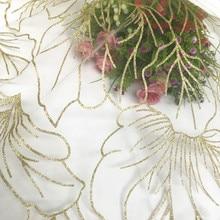 GLace 3Y/Lot Champagne gold bronzed mesh fabric  wedding dress cloth transparent lace fabric DIY accessorises TX191