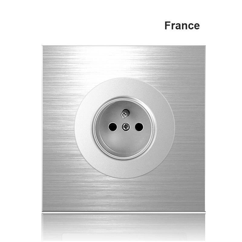 Alemanha frança REINO UNIDO soquete tipo 86 1 2 3 4 1 gang 2way Cinza liga de alumínio Interruptor da tomada de painel Do Norte a Indústria europeia Switch