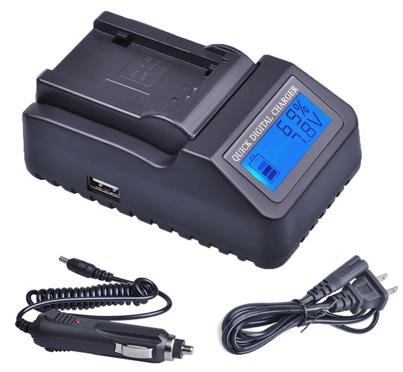 LCD Quick Battery Charger for JVC BN-VG121, BN-VG121E, BN-VG121EU, BN-VG121U, BN-VG121US, BN-VG121US