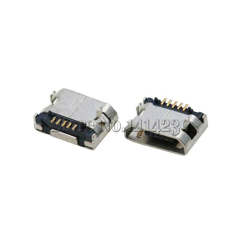 10 Uds 5,9mm USB Micro 5P 5 pin Micro USB Jack 5 pines Curling Micro USB toma de conector de carga de cola mini USB