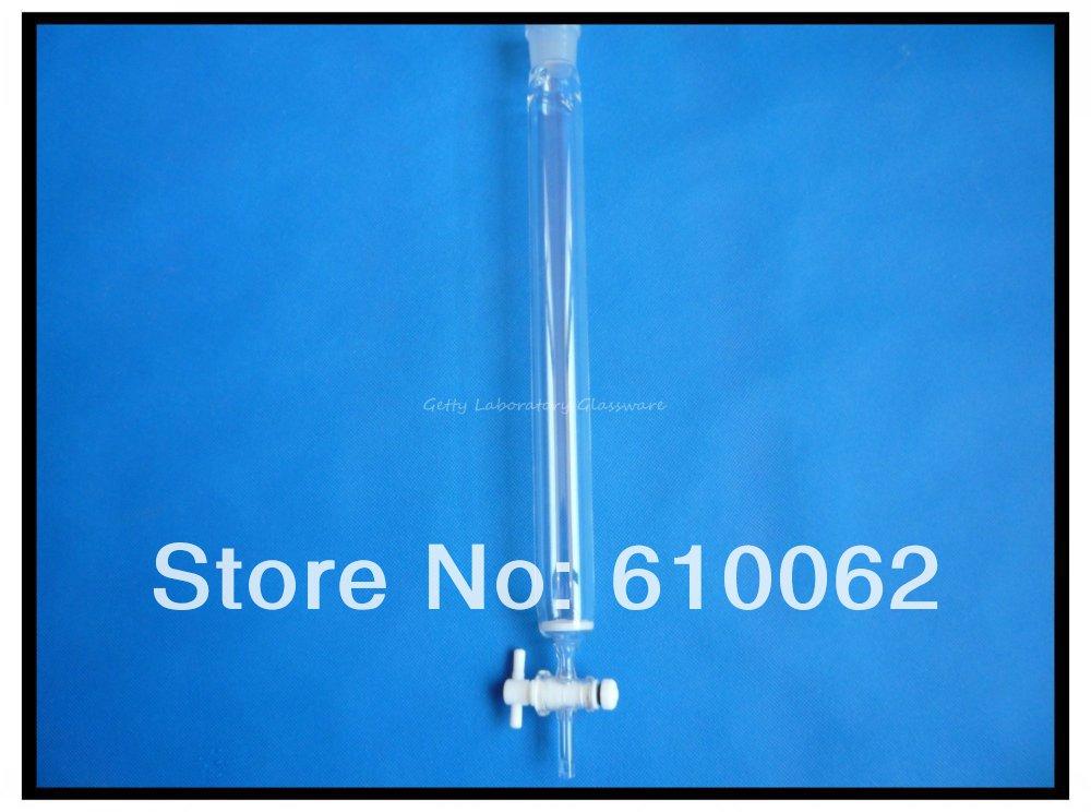 Columna de cromatografía de vidrio de laboratorio de 400 ml, ID 40mm, longitud de la columna 300mm, con tapón de teflón