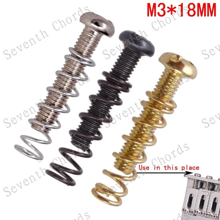 6 uds M3 * 18MM puente de guitarra cadena montaje de silla de montar tornillos y resortes de cuerpo recto para puente trémolo de guitarra eléctrica reemplazo