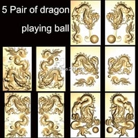 5 pair of dragon playing ball 3d model stl relief for cnc bmp format 3d printing model source file relief artcam vectric aspire