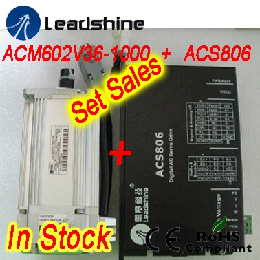 Set sales Leadshine ACM602V36-1000 200W Brushless AC Servo Motor and  ACS806 servo drive with 20-80 VDC input ,18A   current