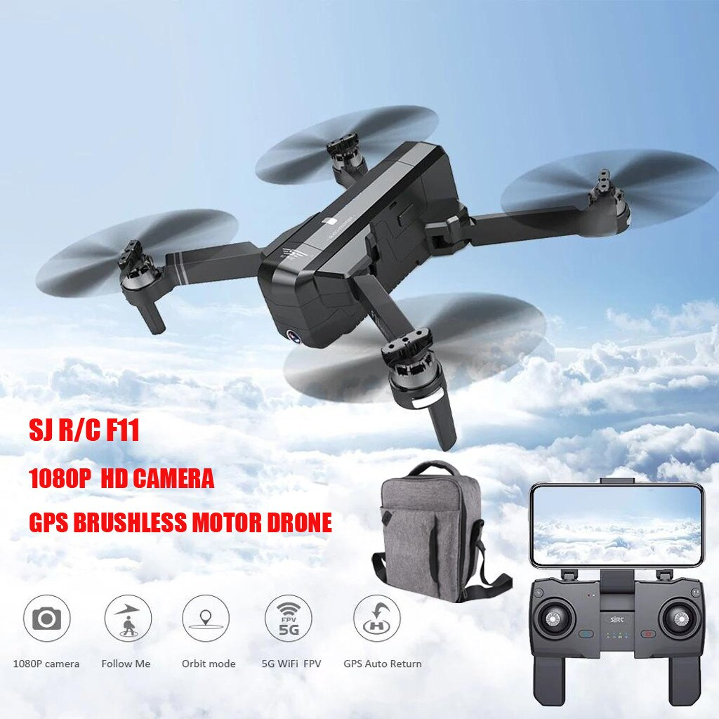 RC-AVIONES RC-SJRC F11 GPS 5G WiFi FPV HD 1080P Cámara plegable sin escobillas RC Drone Quadcopter + mochila T605