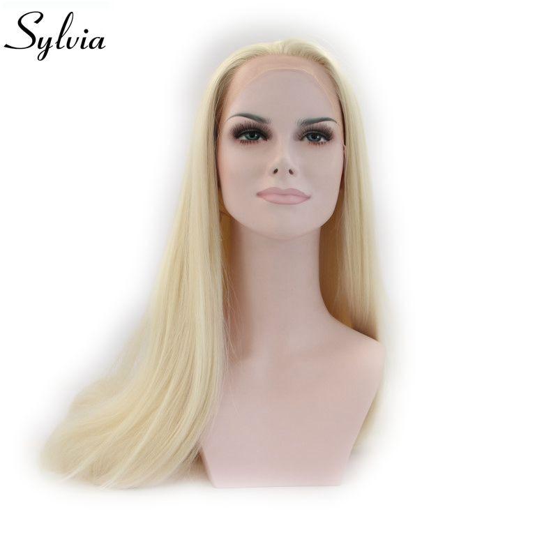 سيلفيا-شعر مستعار أمامي دانتيل صناعي ناعم #613 ، أشقر فاتح ، ألياف مقاومة للحرارة للنساء