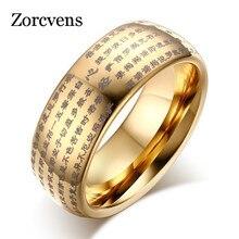 ZORCVENS 2020 Neue Gold-Farbe Buddhistischen Dome Ring für Herren Frau 8MM Hartmetall Ring
