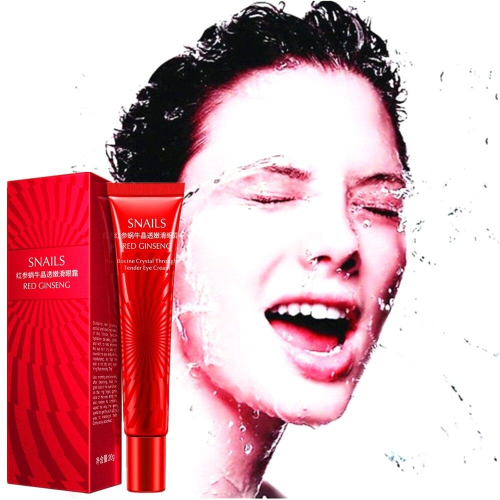 Crema antiarrugas para los ojos con ginseng rojo, 20g, Crema Anti Arrugas para los ojos, antiedad, hidratante para los pies de cuervos, antihinchazón