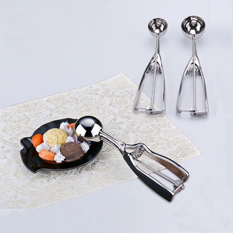 Cuchara de helado de acero inoxidable, cuchara para hacer patatas, sandía, fruta, cavar, cuchara, máquina para hacer bolas de helado, pilas, accesorios de cocina