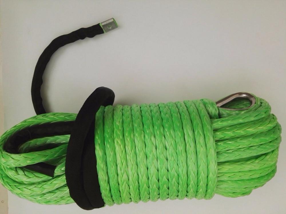 Corda sintética verde do guincho de 12mm * 45 m, corda do plasma, corda do guincho com dedal, fora da estrada corda, cabo do guincho de kevlar