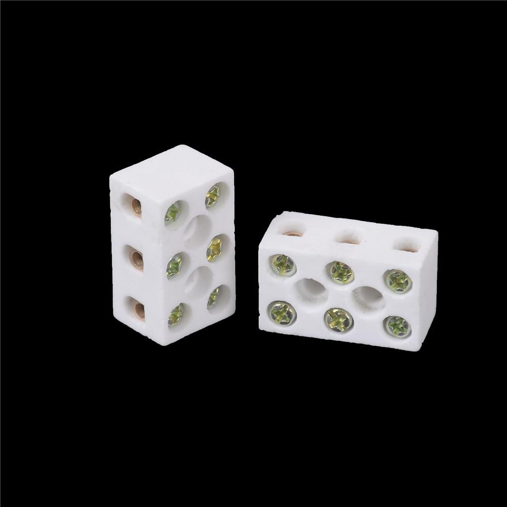Blanco recién llegado 2 uds bloque de terminales de cerámica 15A 3 vías conector de 6 orificios de porcelana de cerámica bloques de terminales de alta calidad