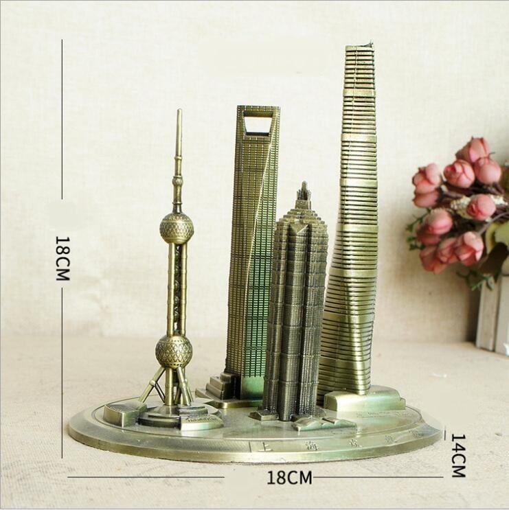 Shanghai Modern Architecture Oriental Pearl/Financial Center/Global Center Metal Building Model Crafts Office Desktop Decoration