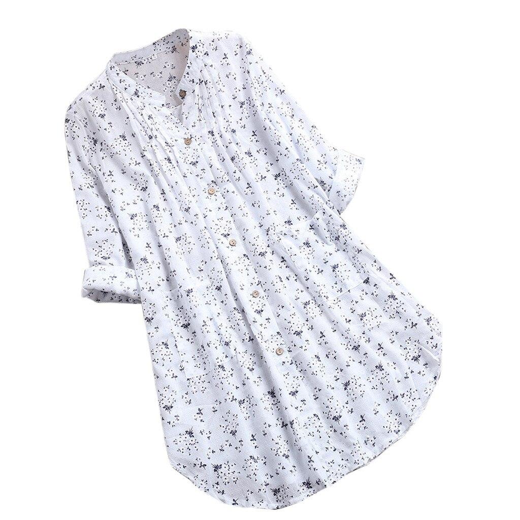 Womens Blouses V-Neck Pleated Floral Print Long Sleeve Casual Tops Blouse Dames Blouses Lange Mouwen Blusas#5%