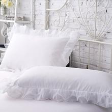 White Lace Edge Pillow Cover 2pcs/lot Solid Color Rectangle Standard Bed Pillow Case Princess bedding Pillowcase 48x74cm