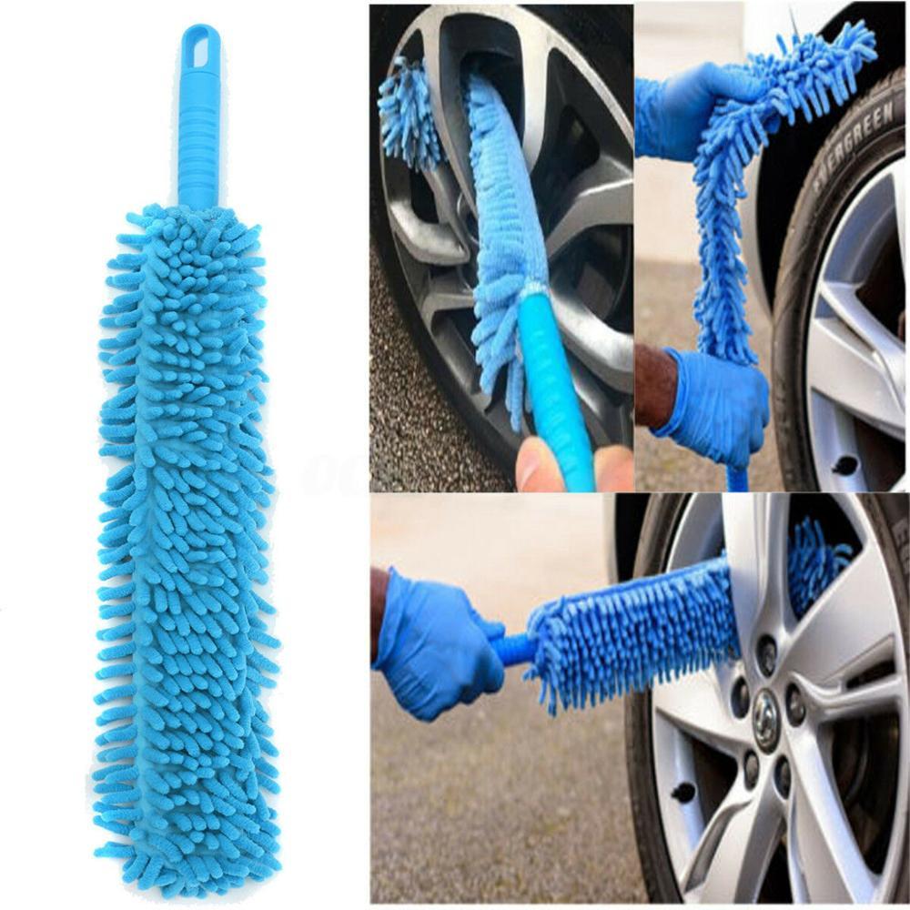 Cepillo de limpieza doble de microfibra suave y largo, herramienta para lavado de coche