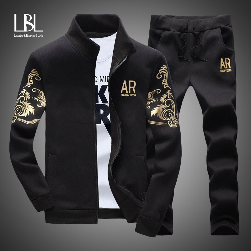 Men's Tracksuit Sportswear Sets Spring Autumn Casual Tracksuits Men 2 Piece Zipper Sweatshirt + Sweatpants Brand Track Suit Set