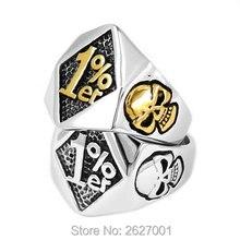 Atacado um por cento 1% er crânio biker anel de aço inoxidável jóias ouro cor prata moda crânio biker men anel swr0619
