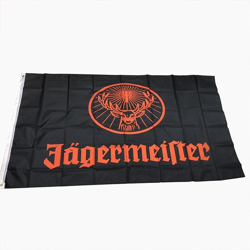 Banderola 100% estampada de poliéster, 3x5 pies, Bandera de jagermeister negra