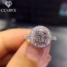 CC S925 anillo de plata anillos de boda para mujeres encantos princesa Bijoux Rosa piedra nupcial compromiso joyería Drop Shipping CC593