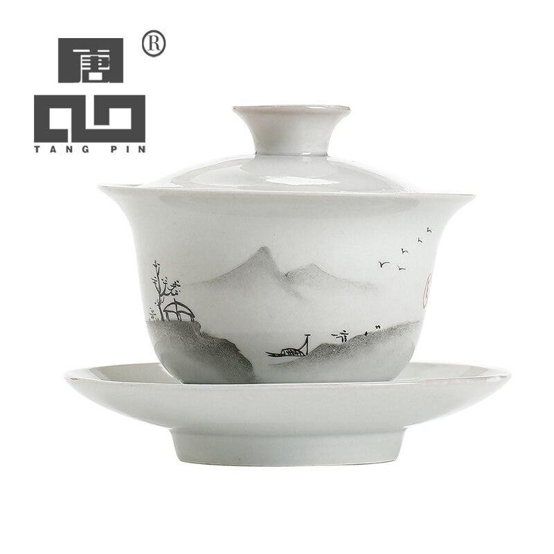Taza de porcelana pintada a mano TANGPIN cerámica gaiwan kungfú chino te juego vajilla