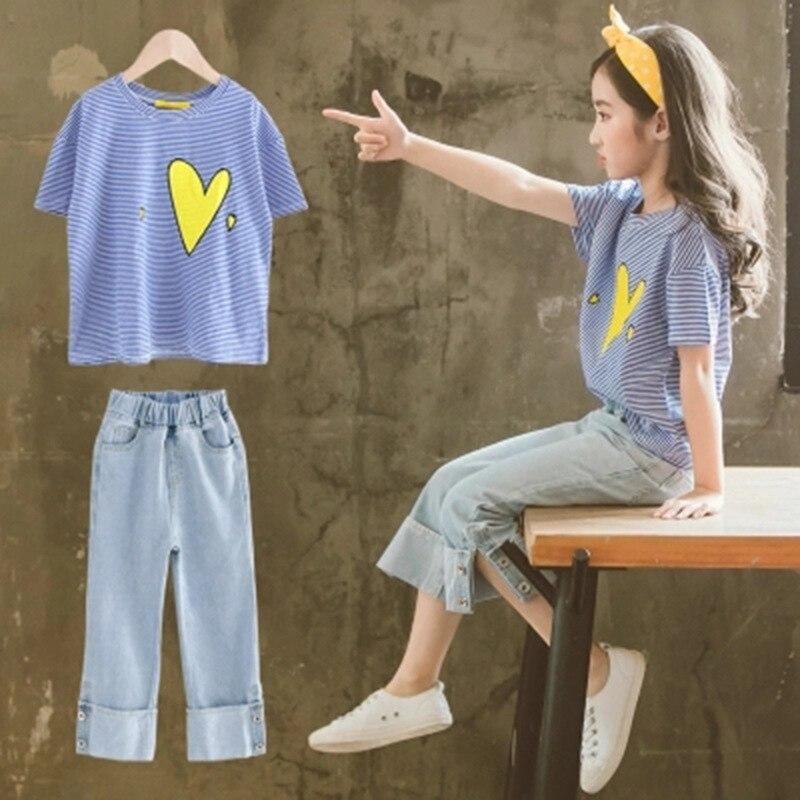 Teenager mädchen kleidung t-shirt + hosen 2 stücke kleidung sets sommer mode 2019 10 12 14 jahre alte kinder mädchen kleidung set