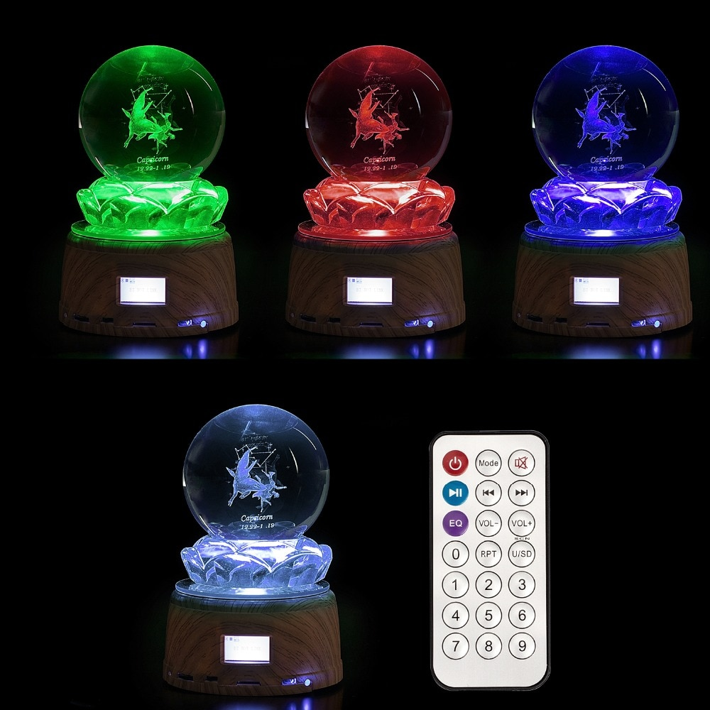 Personalized Crystal Photo LED Night Light Wood Rotating Base MP3 Music Swivel Display Bluetooth RGB Lamp Remote Control Gifts enlarge