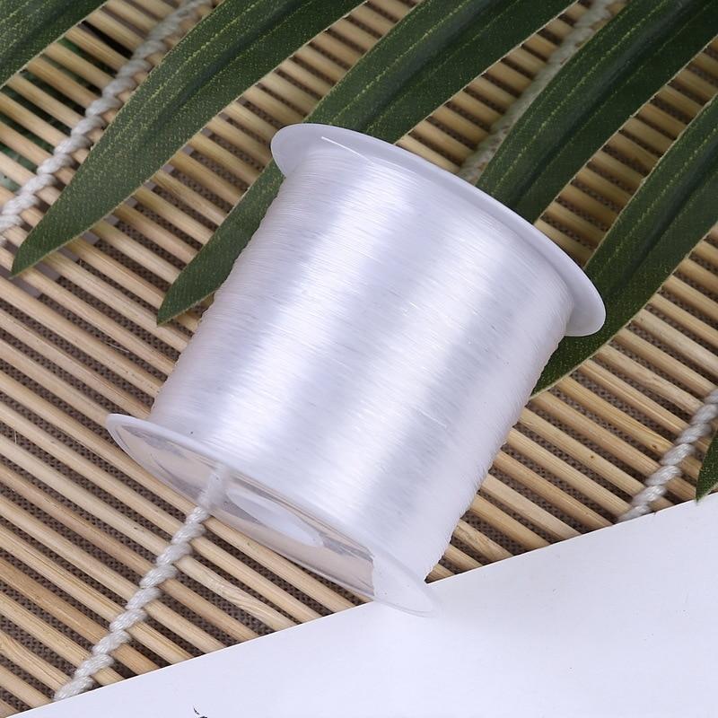 Hilo transparente de 1 rollo, hilo de pescar no elástico, 0,2-0,8mm, pulsera de cuentas DIY, accesorios para collar, accesorios para fabricación de joyas