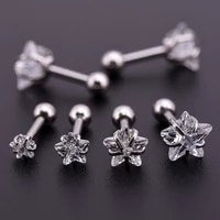 prevent allergy star cubic zirconia stain stud earrings for unisex pentagram crystal small earrings cartilage piercing jewelry