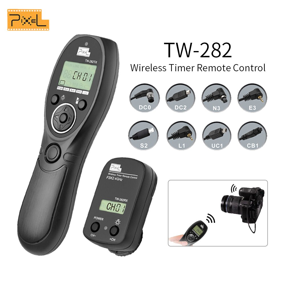 Pixel TW-282 2,4G temporizador inalámbrico disparador de Control remoto para Canon Nikon Sony OLYMPUS PANASONIC DSLR cámaras VS TW-283 T8