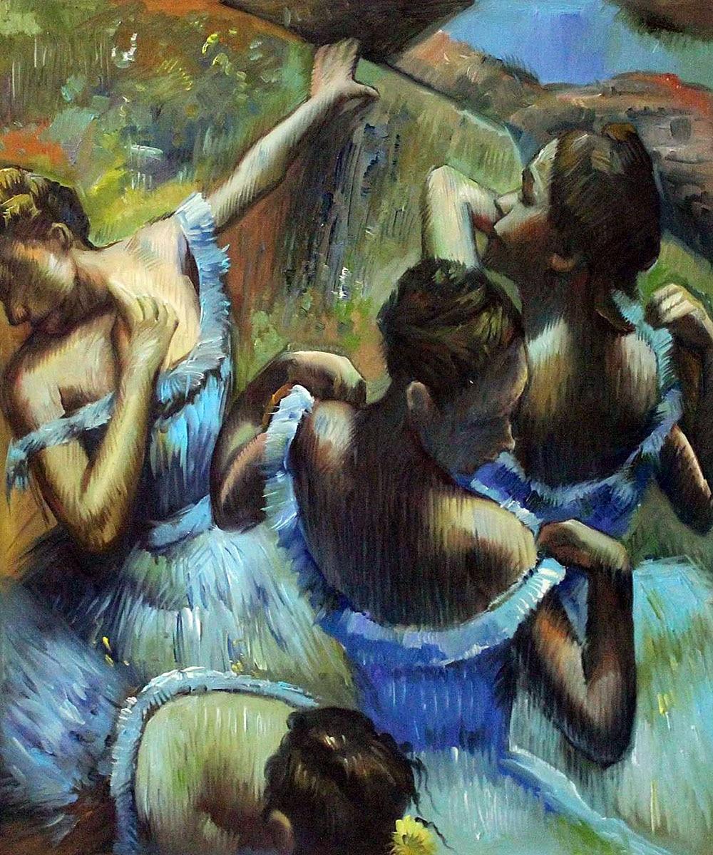 Handbemalte Impressionistische Ballett Mädchen Malerei Dekoration Blauen Tänzer durch Edgar Degas Abbildung Ölgemälde Leinwand Kunst