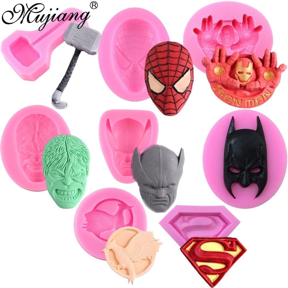 Mujiang Superman Logo Spiderman Batman Silicone Cake Mold DIY Chocolate Candy Moulds Baby Birthday Fondant Cake Decorating Tools