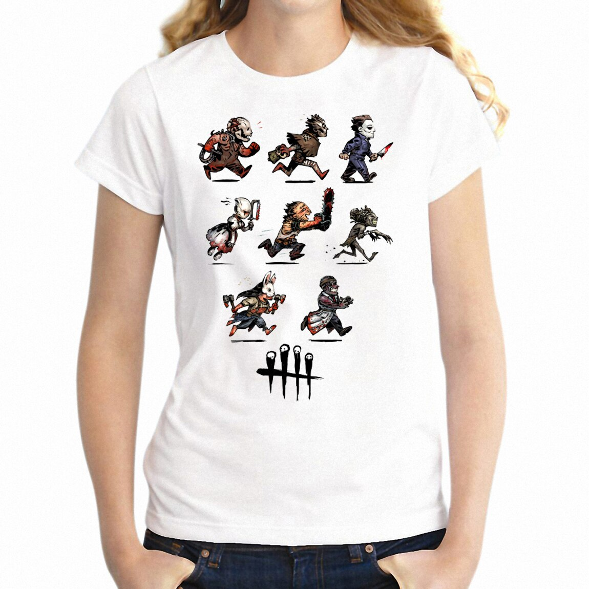 Camiseta de mujer Jigsaw Saw Jason Friday The 13th Chucky Horror Friends divertida camiseta Geek Camiseta de chica