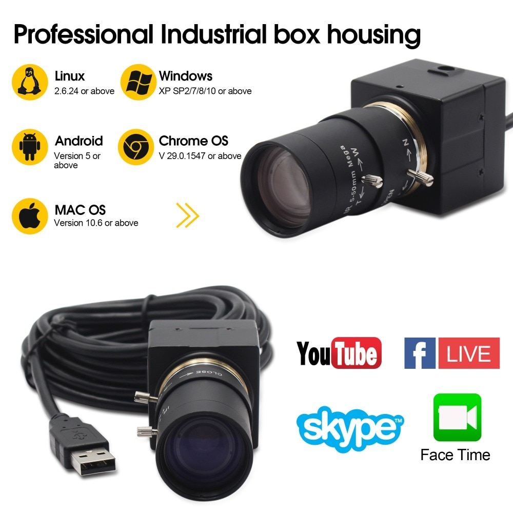 H.264 CCTV Sony IMX322 de 5-50mm lente Varifocal Mini USB cámara Web HD 1080P Android Linux Windows para vídeo de PC Conferencia