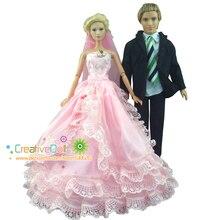 Nouvel an noël/cadeau danniversaire pour enfants 2 ensembles = costume de vêtements pour poupée ken + robe de mariée rose avec voile pour poupée barbie