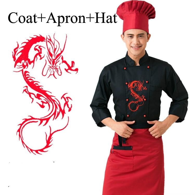3 uds uniforme de Chef de Hotel con delantal sombrero de restaurante masculino cocina ropa para cocinar traje de cocinero dragón ropa de servicio 8