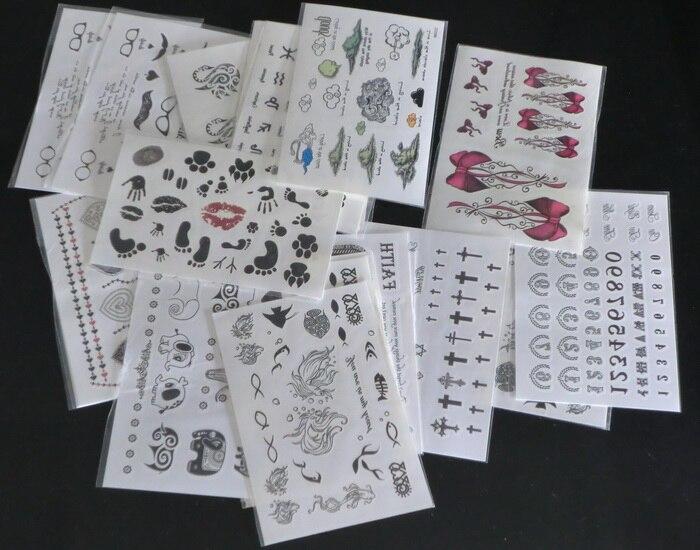 9.5*14.5cm  Mixed Type 50Pcs Temporary Tattoos Fashion Waterproof Body Tattoo Sticker paper Nontoxic