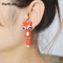 WarBLade Animal Cat Stud Earrings Fashion Handmade Polymer Clay 3D Fox Crocodile Dinosaur Earring Fo