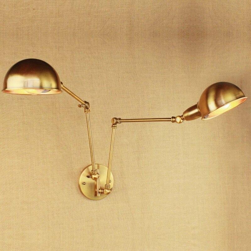 Diseño de lujo Vintage Latón dorado doble cabeza oscilante brazo Edison lámpara de pared E27 Led ajustable Metal accesorios de iluminación de pared para dormitorio